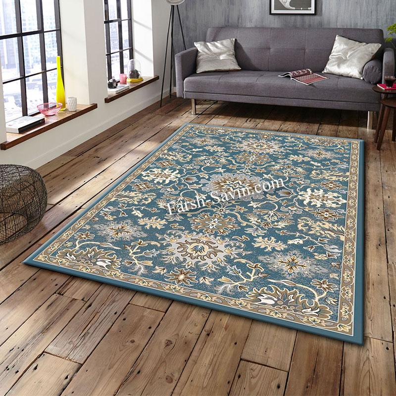 فرش ساوین 4041 آبی  فرش زیبا