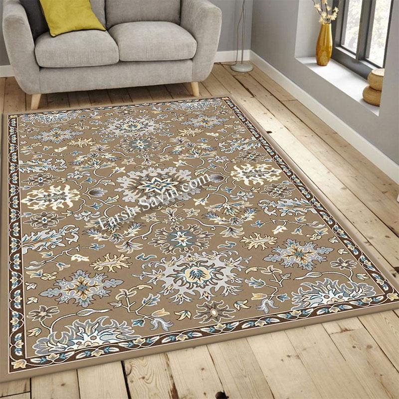 فرش ساوین 4041 شکلاتی فرش مناسب اتاق خواب