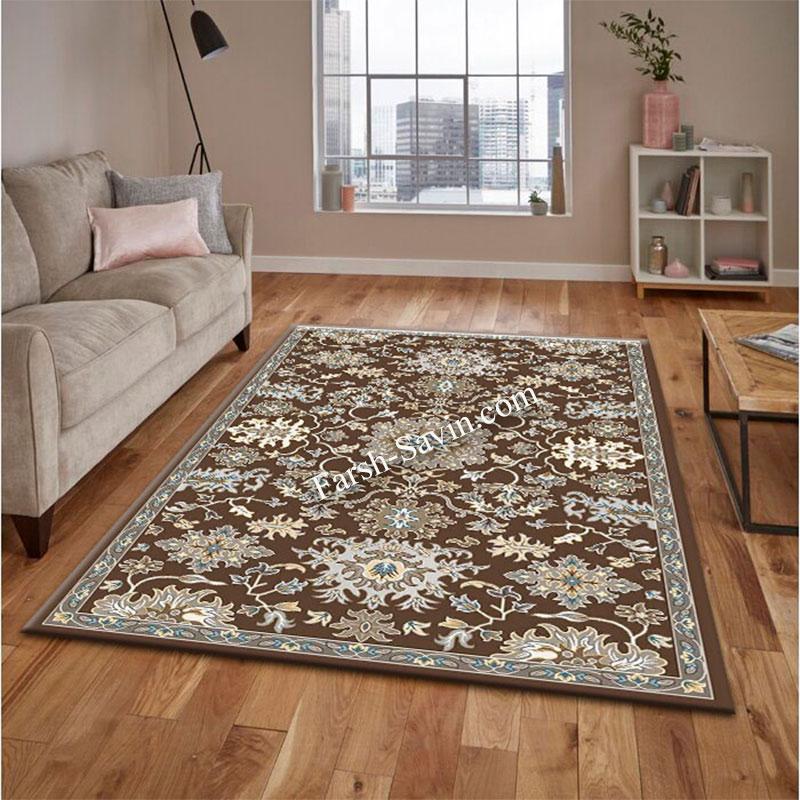 فرش ساوین 4041 نسکافه ای فرش مناسب اتاق پذیرایی