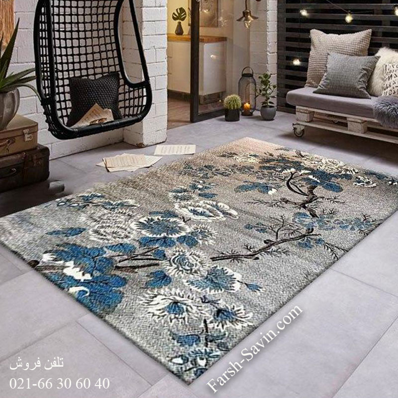 فرش ساوین 4042 نقره ای فرش بادوام