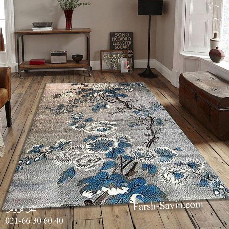 فرش ساوین 4042 نقره ای فرش اتاق پذیرایی