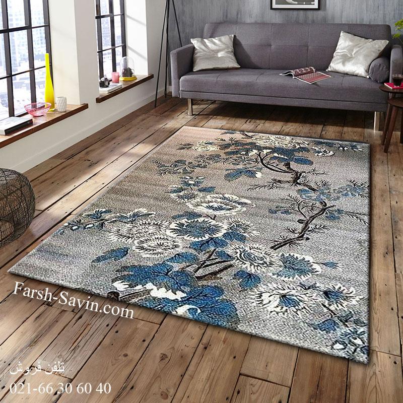 فرش ساوین 4042 نقره ای فرش خوش نقشه