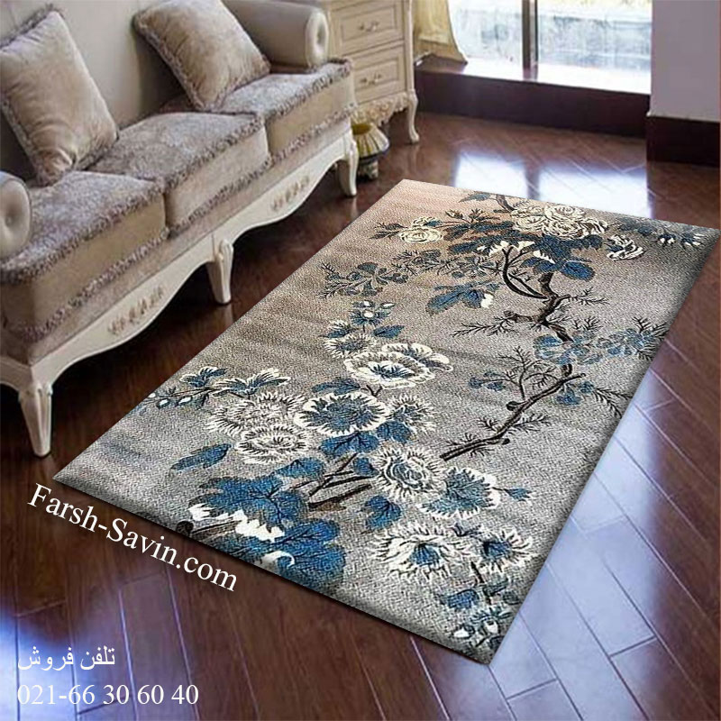 فرش ساوین 4042 نقره ای فرش زیبا
