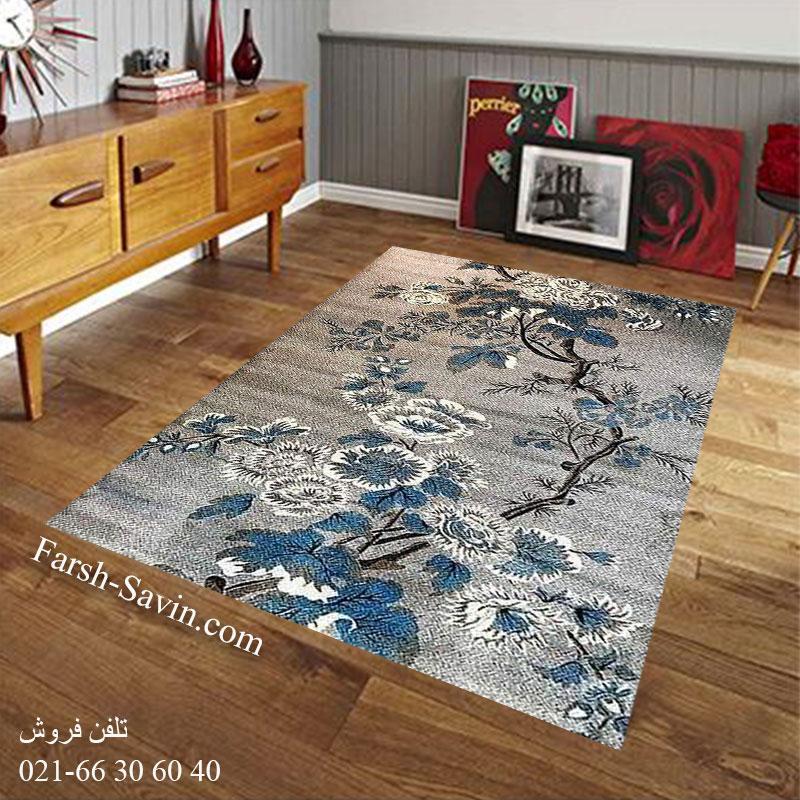 فرش ساوین 4042 نقره ای فرش شیک