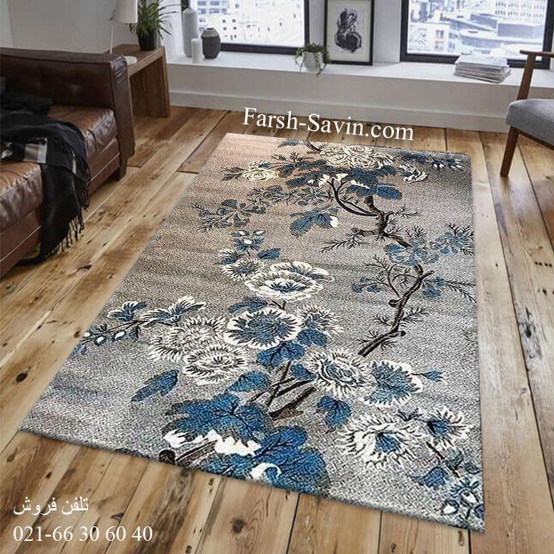 فرش ساوین 4042 نقره ای فرش اتاق خواب