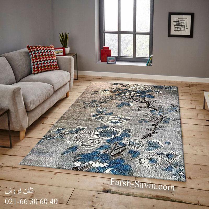 فرش ساوین 4042 نقره ای فرش خاص