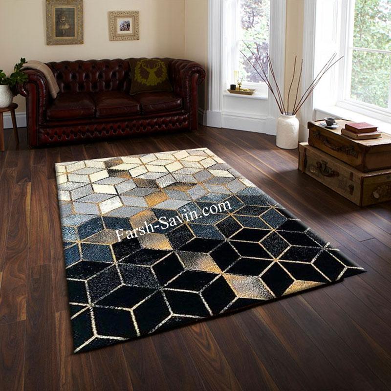فرش ساوین 4043 مشکی فرش متفاوت شیک