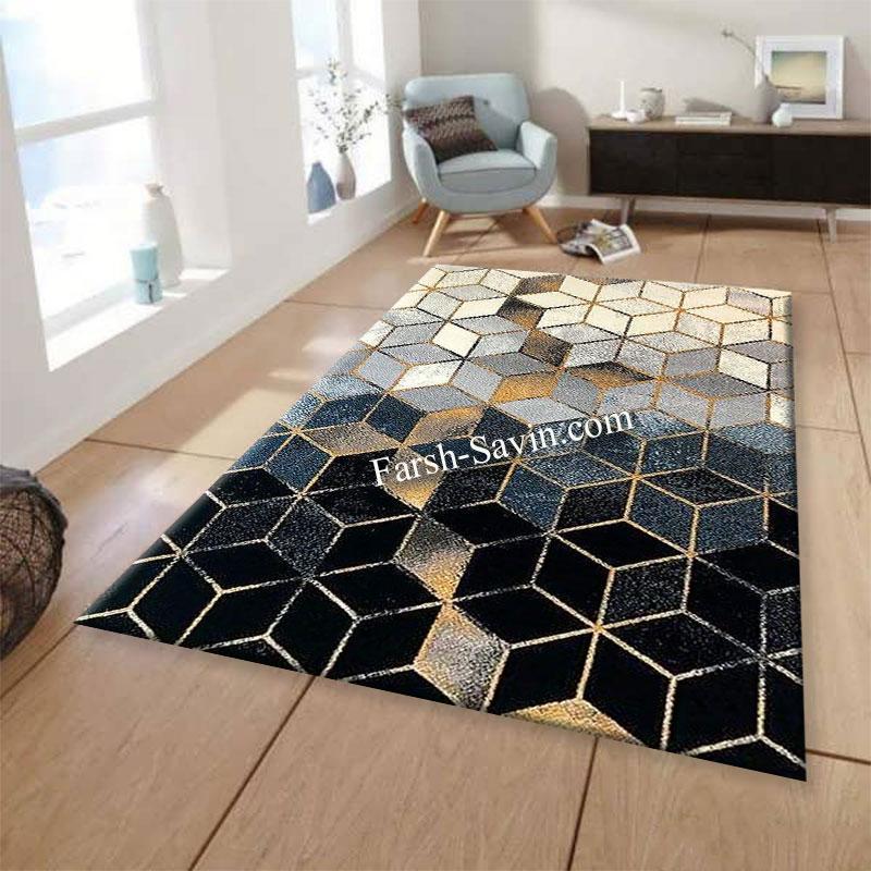 فرش ساوین 4043 مشکی فرش مدرن