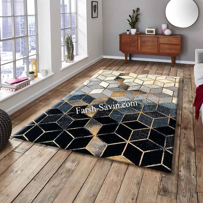 فرش ساوین 4043 مشکی فرش بادوام