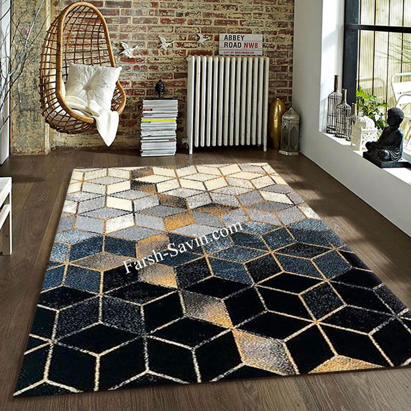 فرش ساوین 4043 مشکی فرش باکیفیت