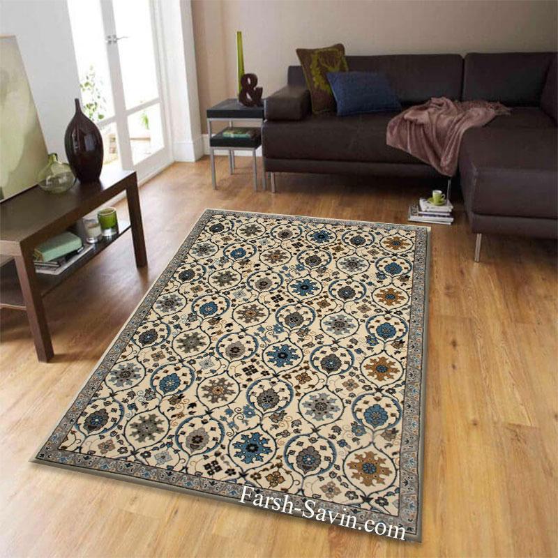 فرش ساوین 4048 کرم فرش  پرفروش