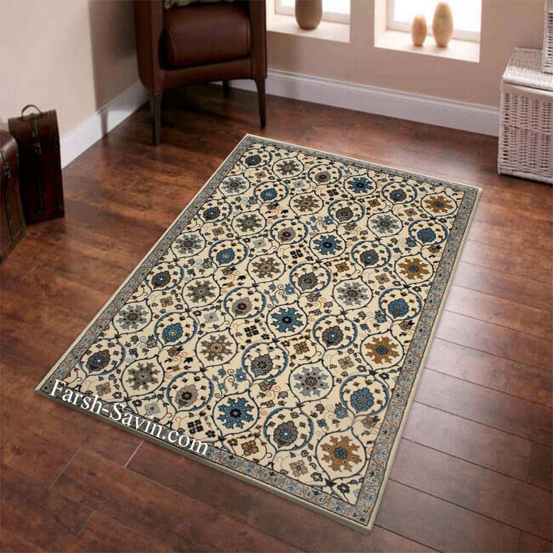 فرش ساوین 4048 کرم فرش باکیفیت