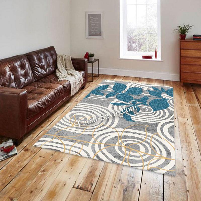 فرش ساوین 4050 نقره ای فرش اتاق پذیرایی