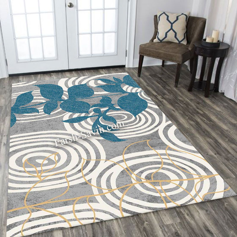 فرش ساوین 4050 نقره ای فرش باکیفیت