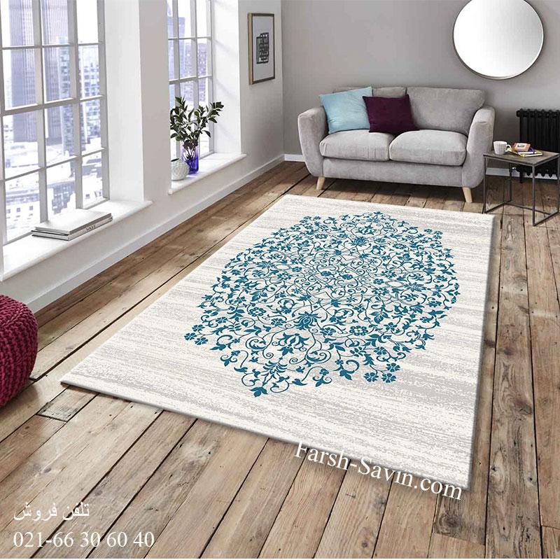 فرش ساوین 4052 کرم فرش مناسب اتاق خواب