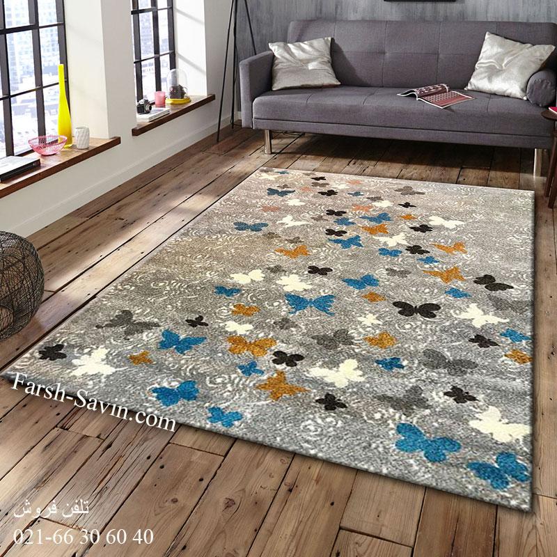 فرش ساوین 4054 نقره ای روشن فرش زیبا