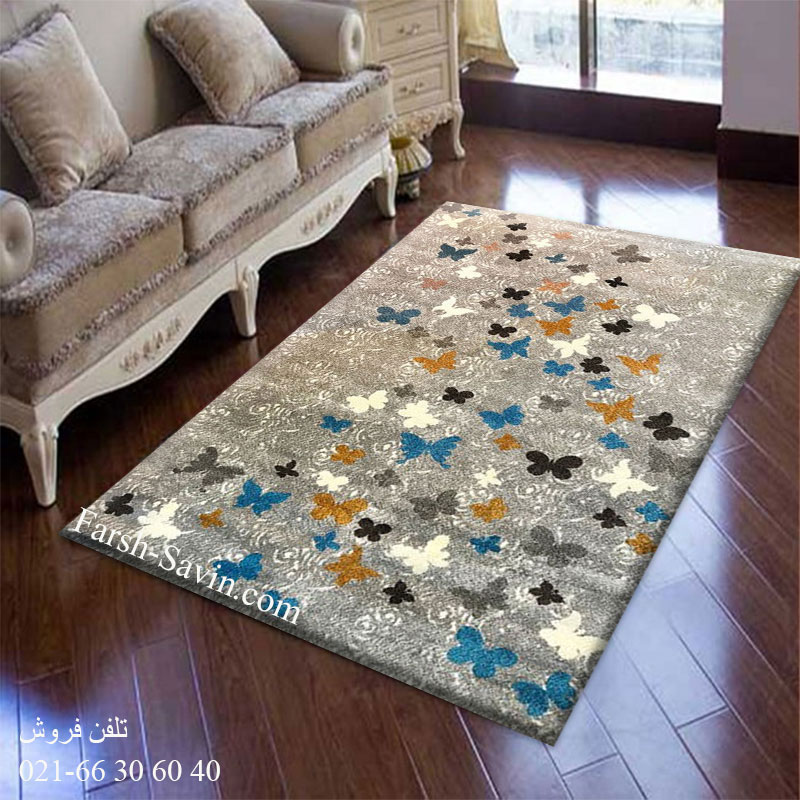 فرش ساوین 4054 نقره ای روشن فرش مدرن