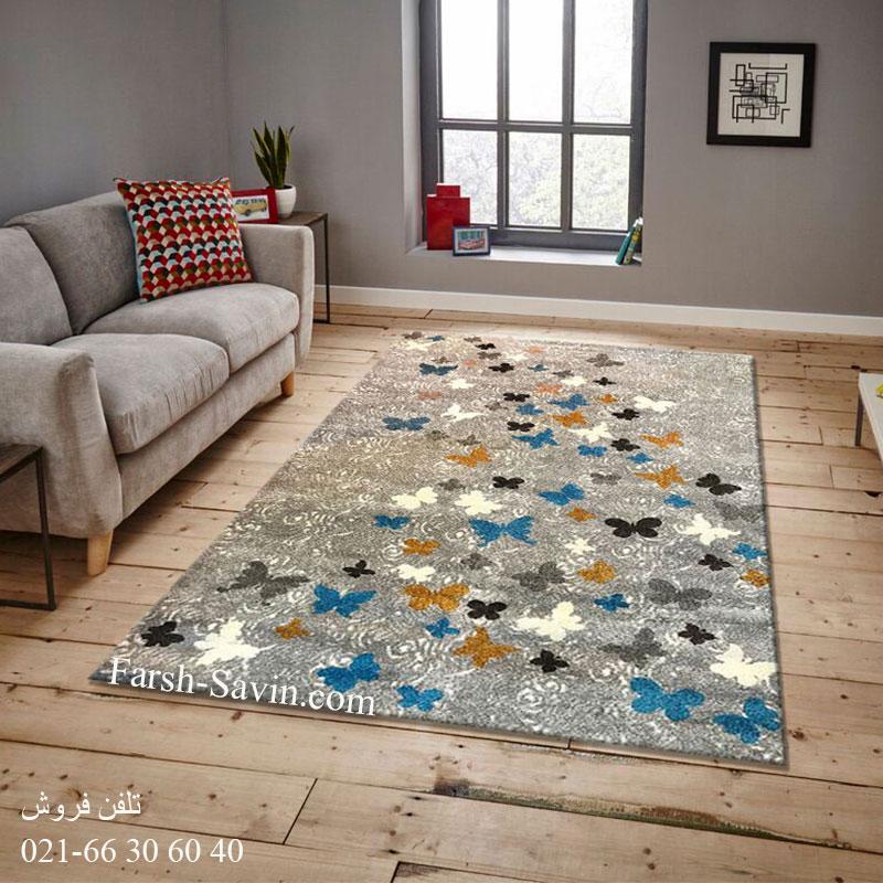 فرش ساوین 4054 نقره ای روشن فرش فانتزی