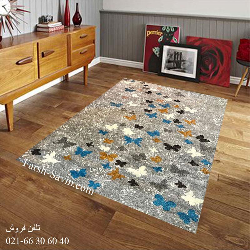 فرش ساوین 4054 نقره ای روشن فرش پرفروش