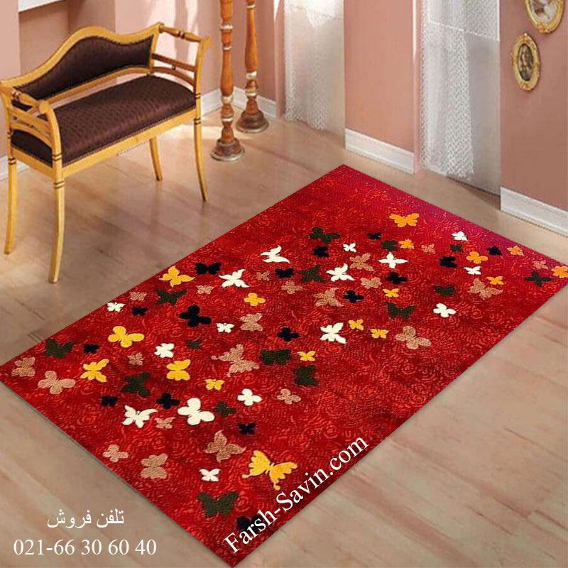 فرش ساوین 4054 لاکی فرش اتاق پذیرایی