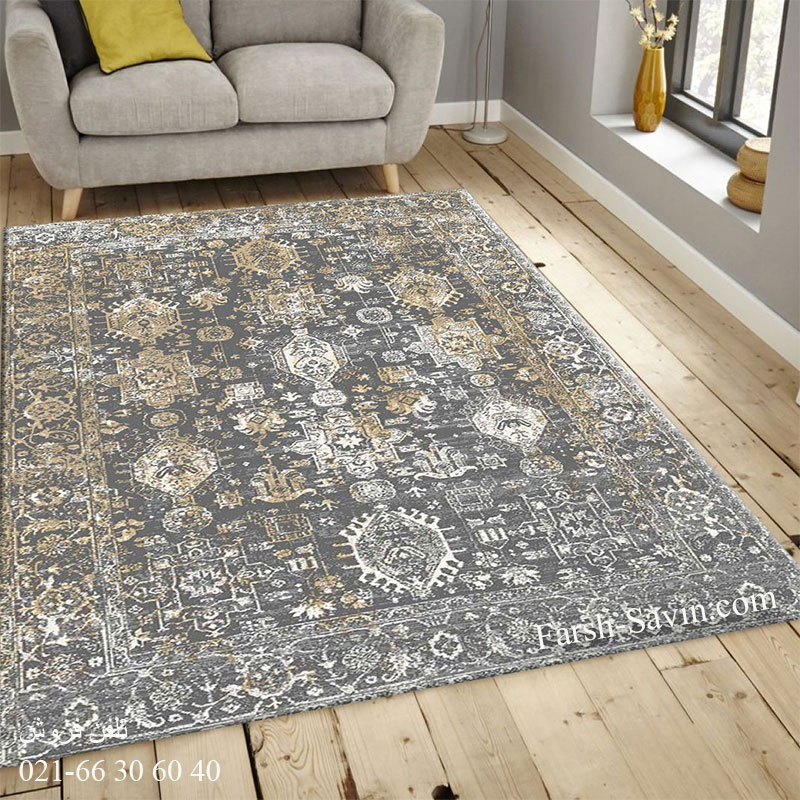 فرش ساوین 4061 طوسی فرش اصیل ایرانی