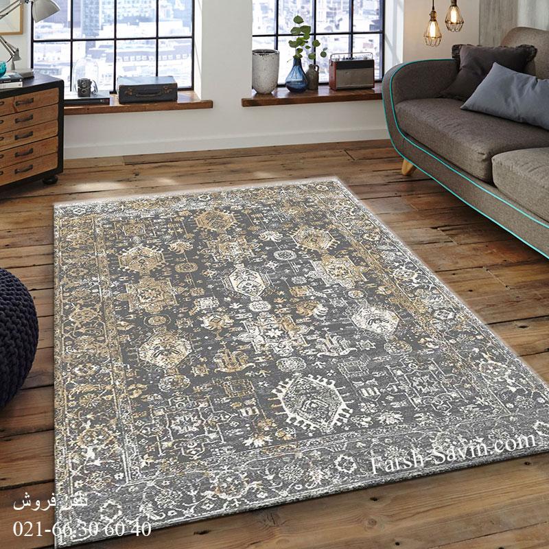 فرش ساوین 4061 طوسی فرش اتاق خواب