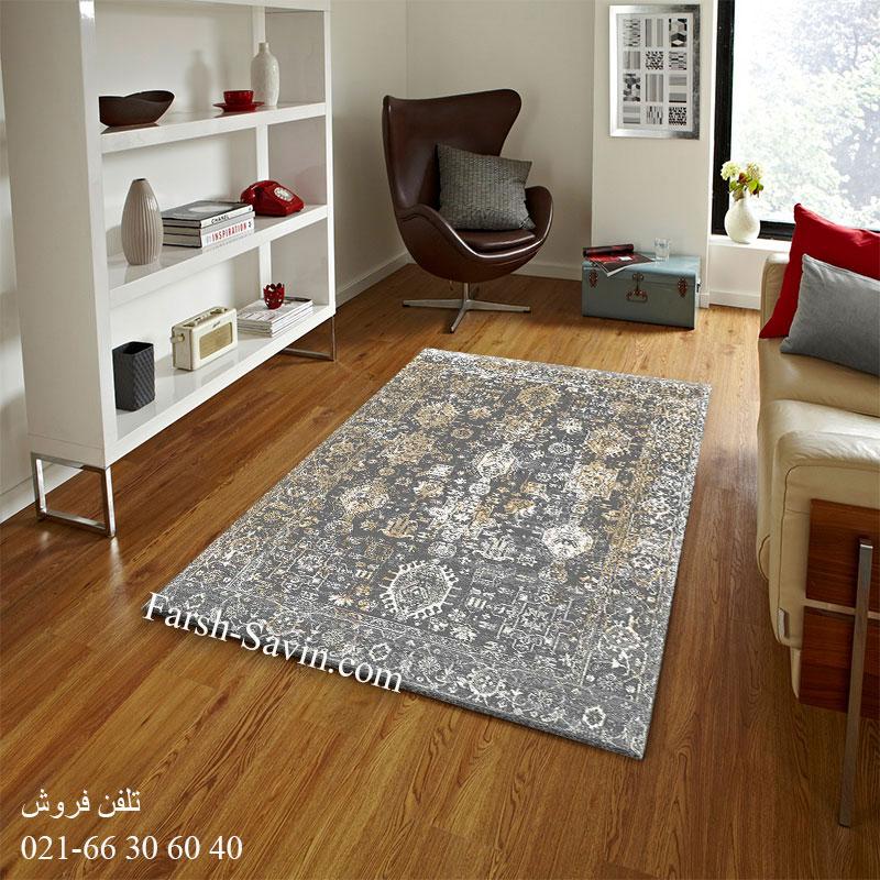 فرش ساوین 4061 طوسی فرش فانتزی