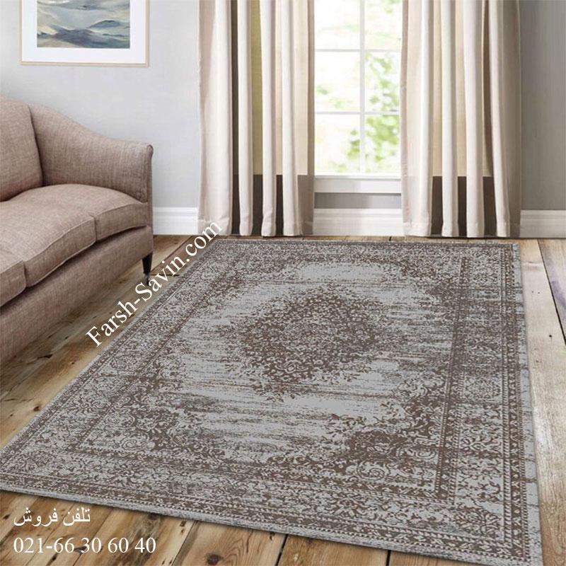 فرش ساوین 4062 نقره ای مشکی فرش زیبا