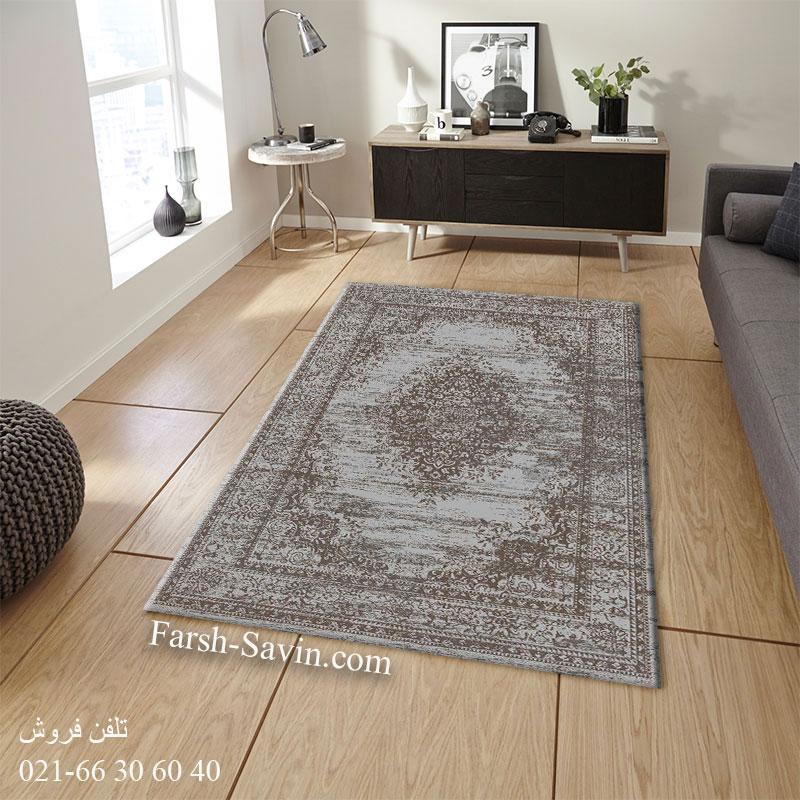 فرش ساوین 4062 نقره ای مشکی فرش خاص و شیک