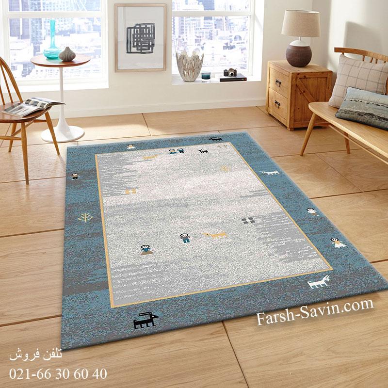 فرش ساوین 4064 آبی فرش زیبا