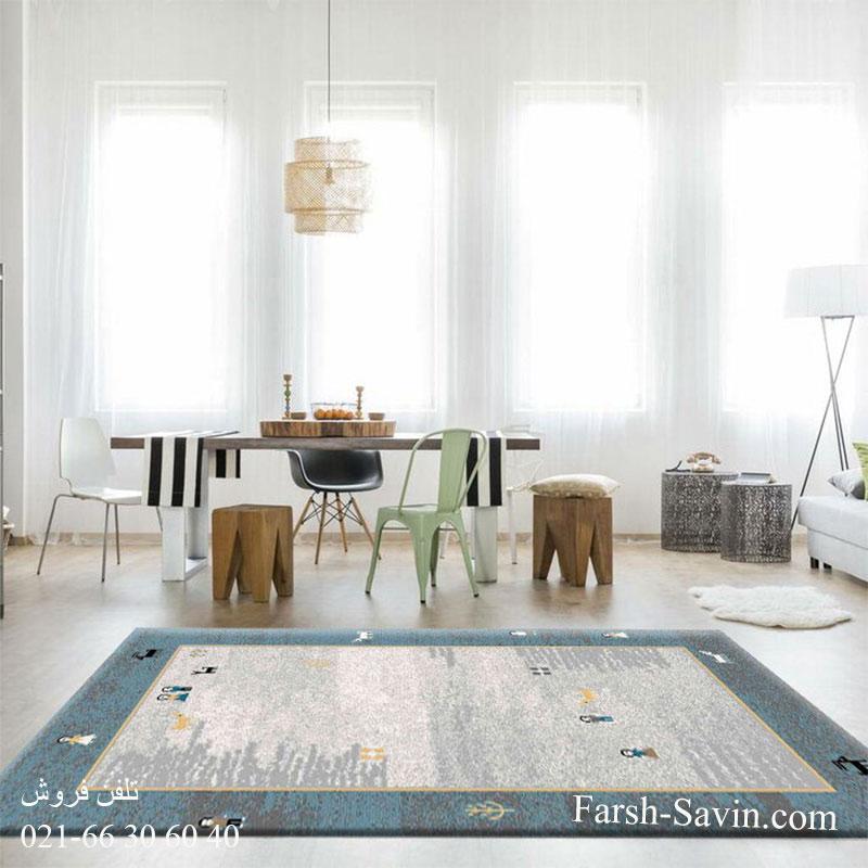 فرش ساوین 4064 آبی فرش فرش ساوین 4064 آبی فرش مدرن