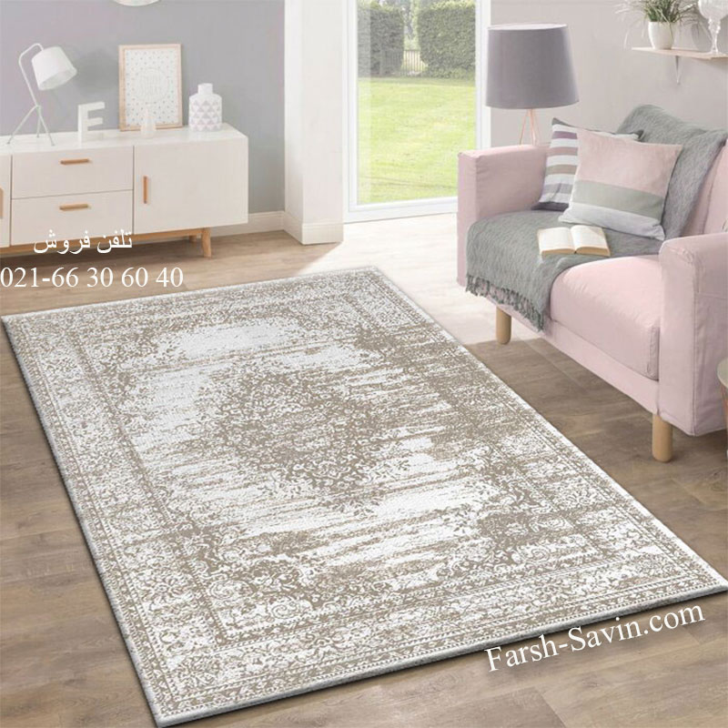 فرش ساوین 4062 نقره ای فرش بادوام