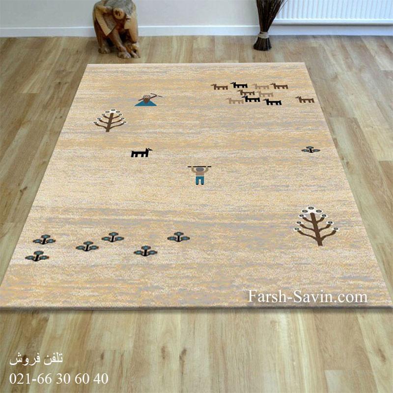 فرش ساوین 4065 کرم فرش باکیفیت