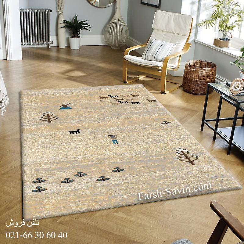 فرش ساوین 4065 کرم فرش مدرن و فانتزی