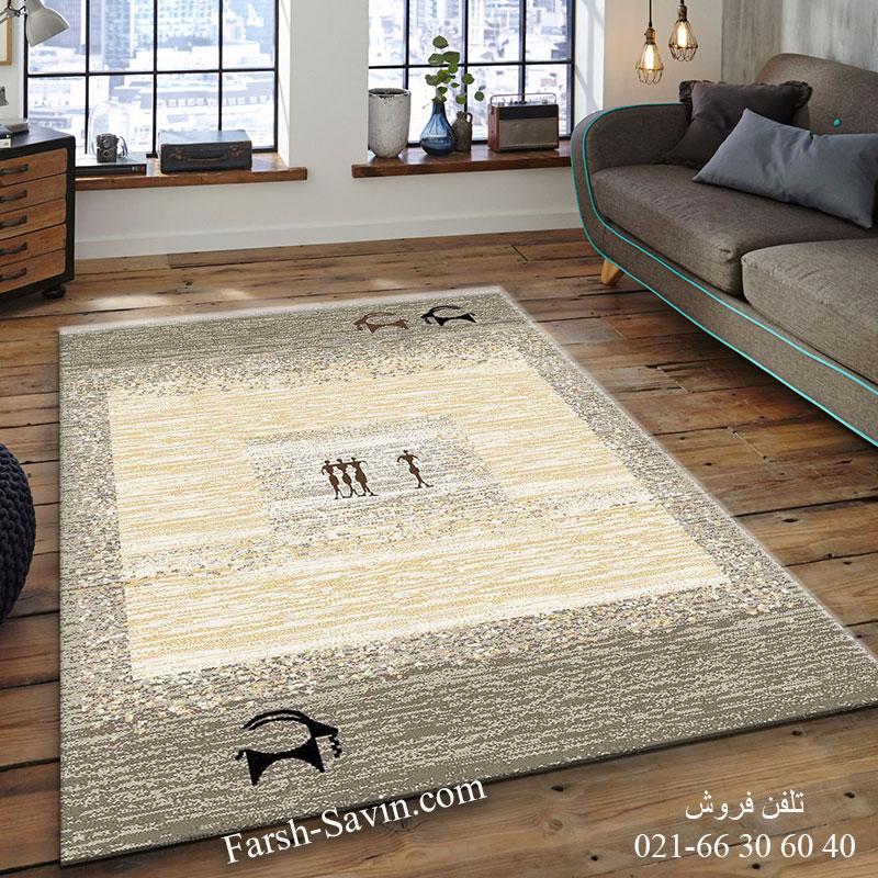 فرش ساوین 4066 شکلاتی فرش خاص