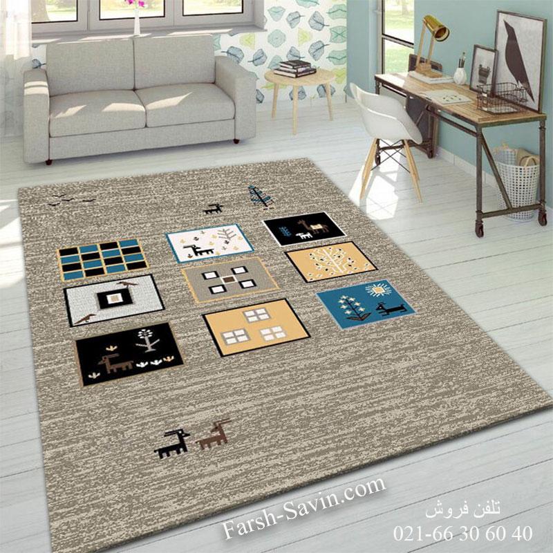 فرش ساوین 4067 شکلاتی فرش ارزان