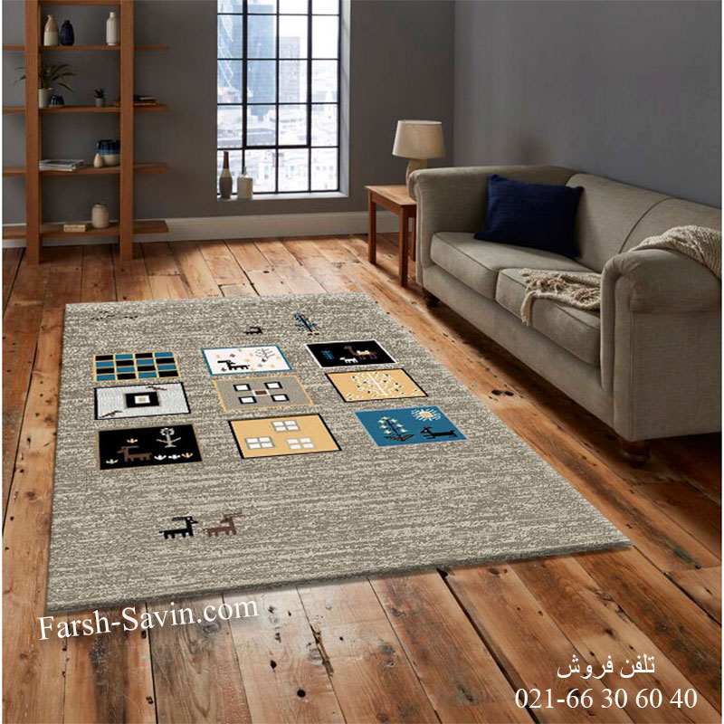 فرش ساوین 4067 شکلاتی فرش فانتزی
