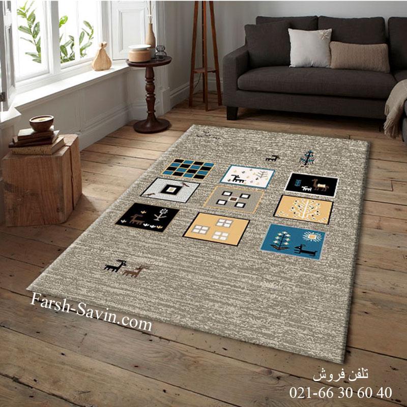فرش ساوین 4067 شکلاتی فرش مدرن