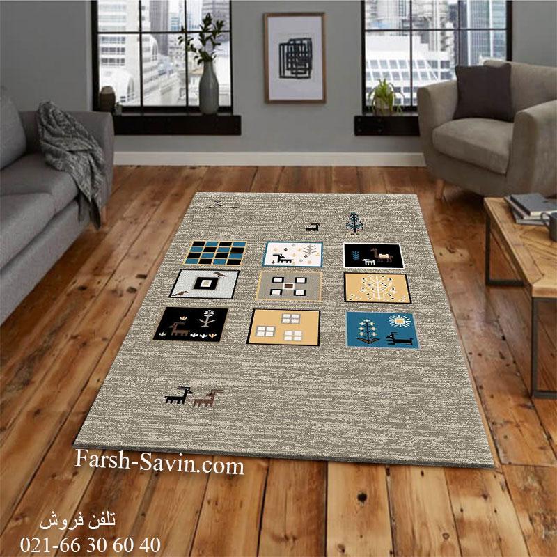 فرش ساوین 4067 شکلاتی فرش خاص