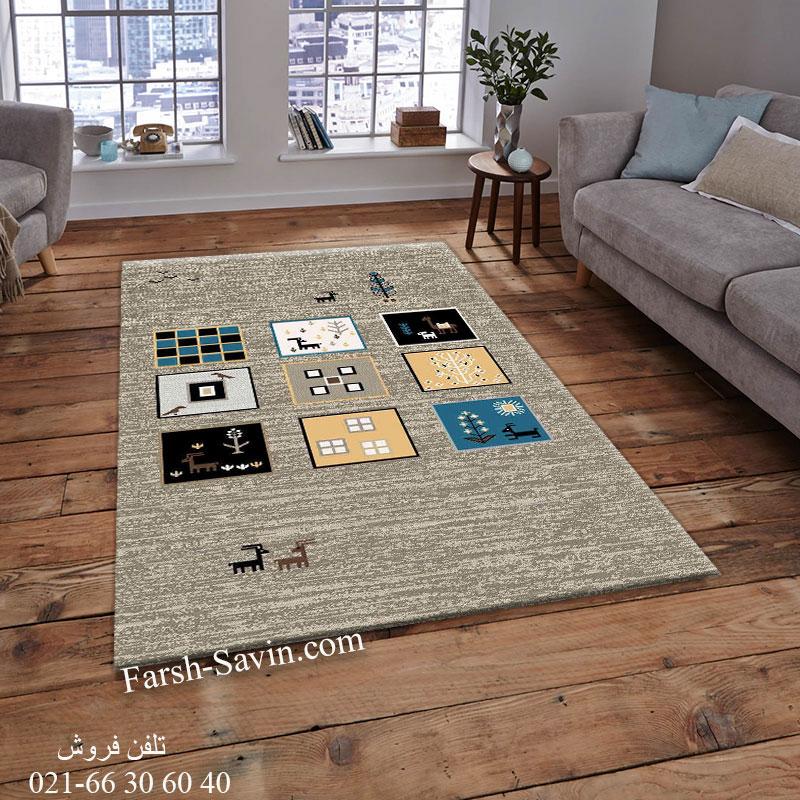 فرش ساوین 4067 شکلاتی فرش اتاق خواب