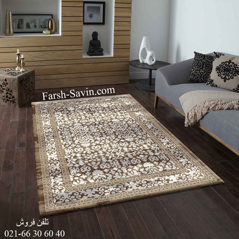 فرش ساوین 4068 شکلاتی فرش ارزان
