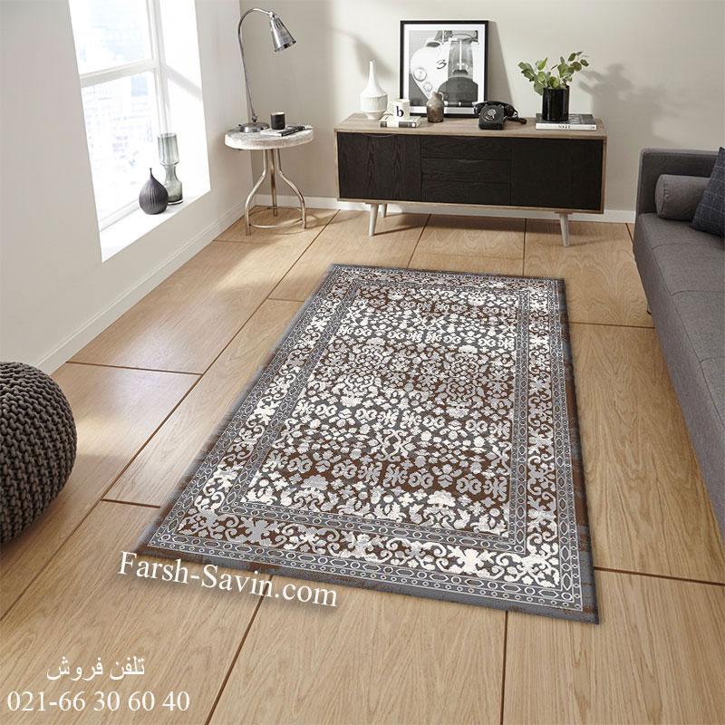 فرش ساوین 4068 طوسی فرش اتاق خواب