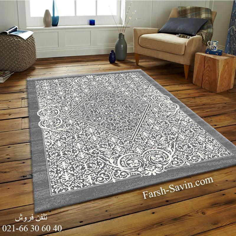 فرش ساوین 4069 طوسی فرش با کیفیت