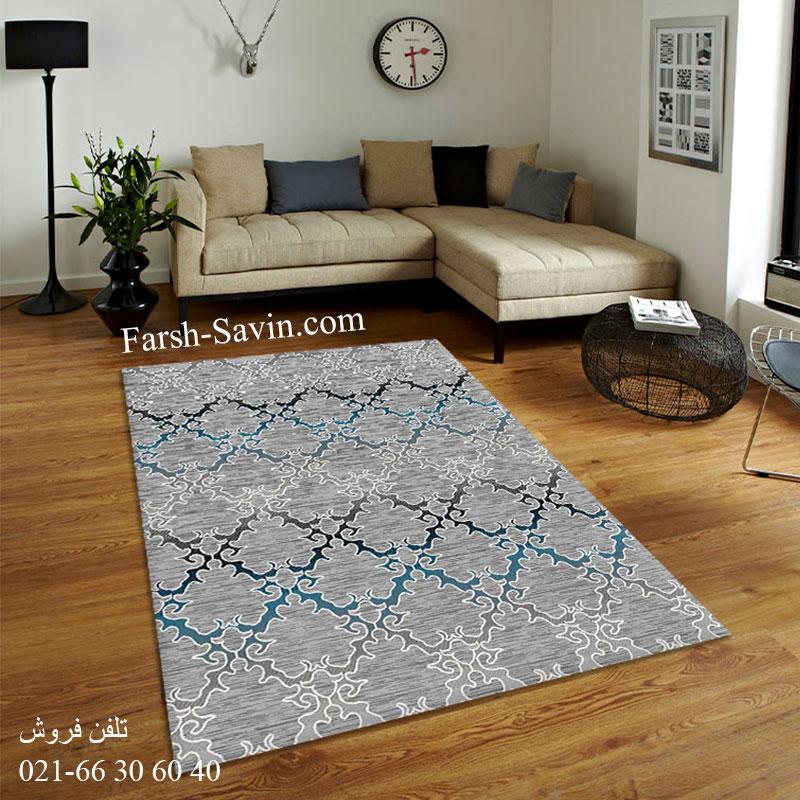 فرش ساوین 4072 طوسی فرش اتاق پذیرایی