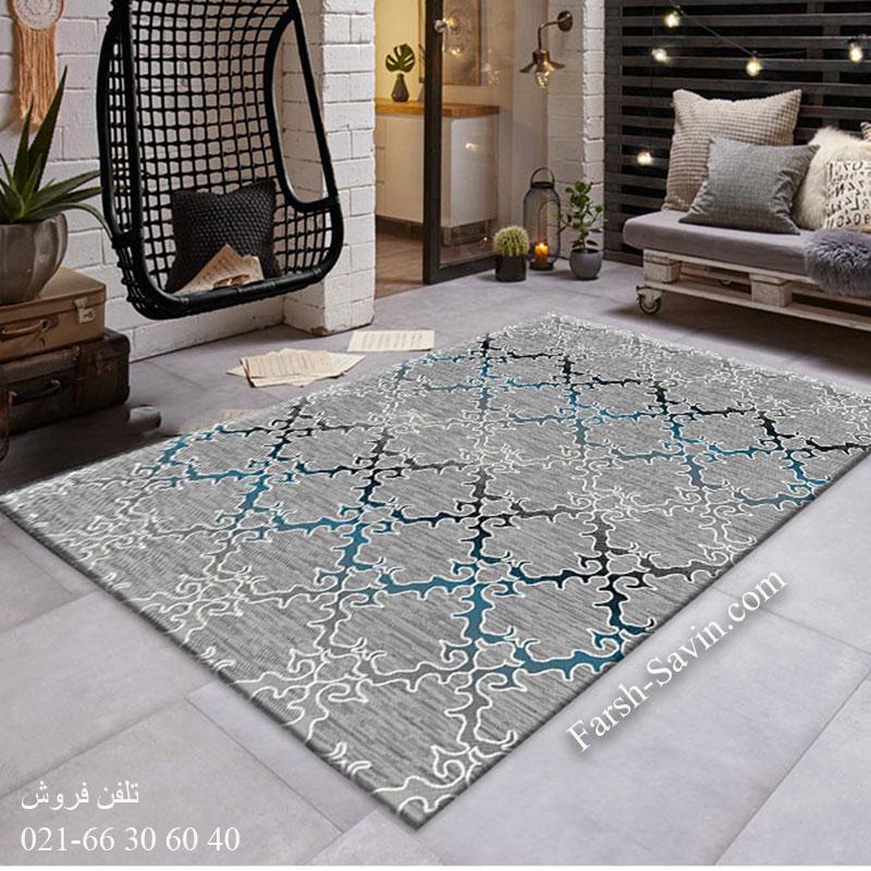 فرش ساوین 4072 طوسی فرش پرفروش