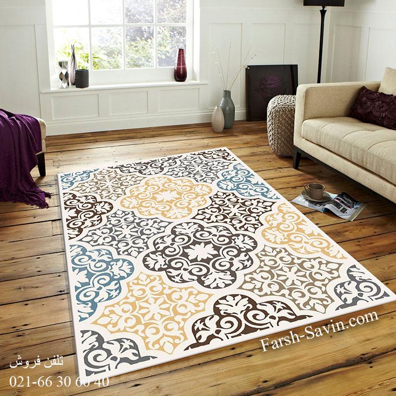 فرش ساوین 4073 کرم فرش اتاق خواب