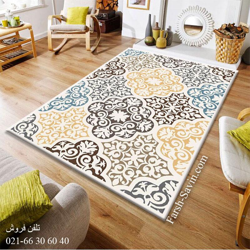 فرش ساوین 4073 کرم فرش مدرن