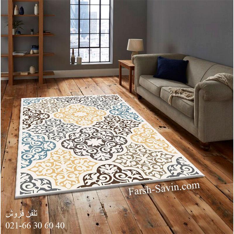 فرش ساوین 4073 کرم فرش بادوام