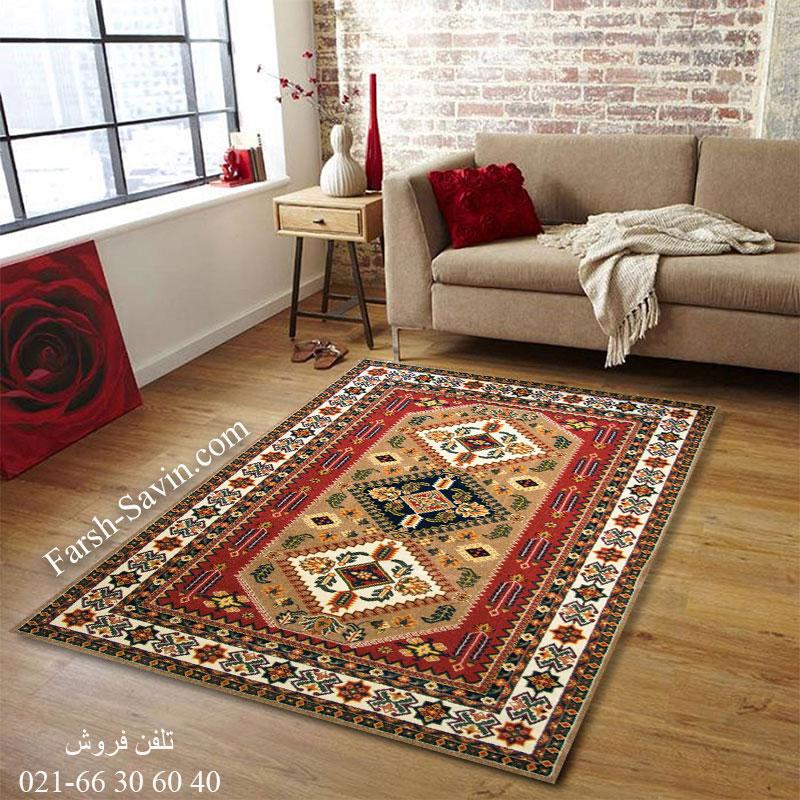 فرش ساوین آنیتا شکلاتی فرش روستایی