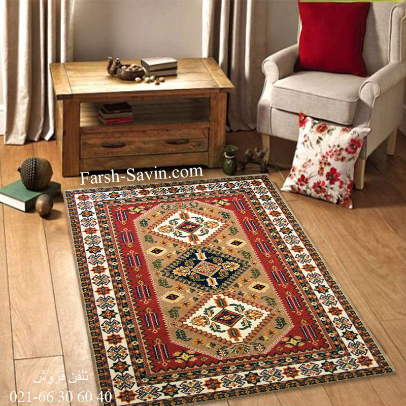 فرش ساوین آنیتا شکلاتی فرش اتاق خواب